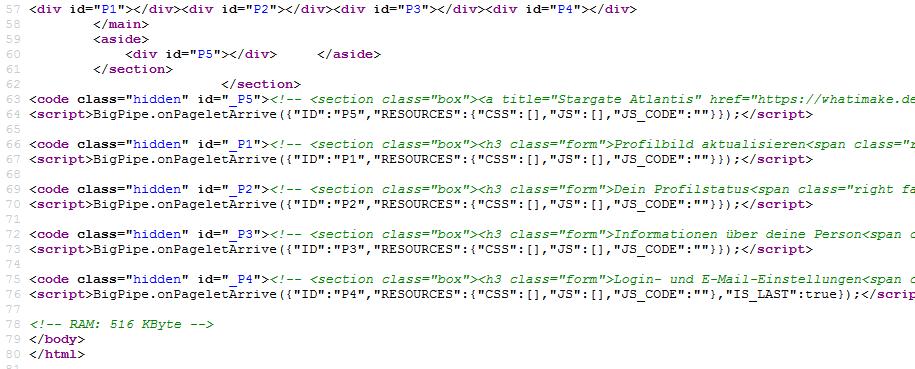 Einzelne Pagelets werden in der BigPipe-Klasse registriert