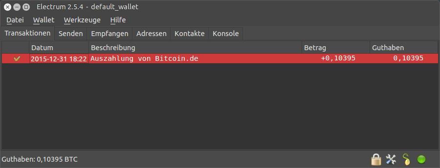 Electrum Bitcoin-Wallet mit Auszahlung von Bitcoin.de