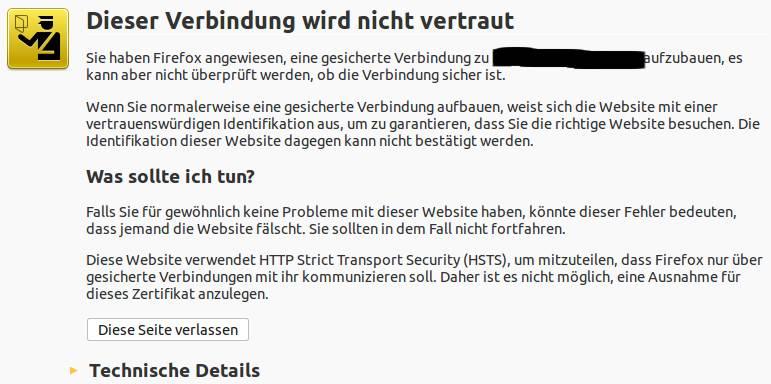 HSTS-Warnmeldung in Mozilla Firefox