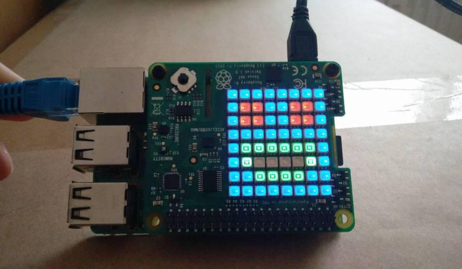 Sense HAT auf dem Raspberry Pi 3 montiert