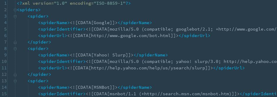 XML-Datei mit Useragents von Suchmaschinenbots